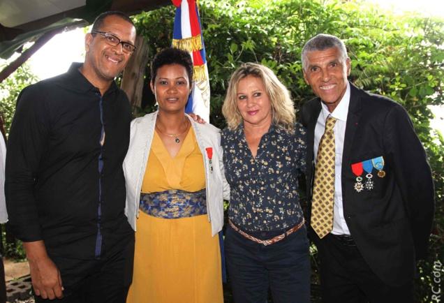 Daniel Sangouma, Marlène Chane See Chu et Jean-Louis Prianon félicitent Florence Avaby.