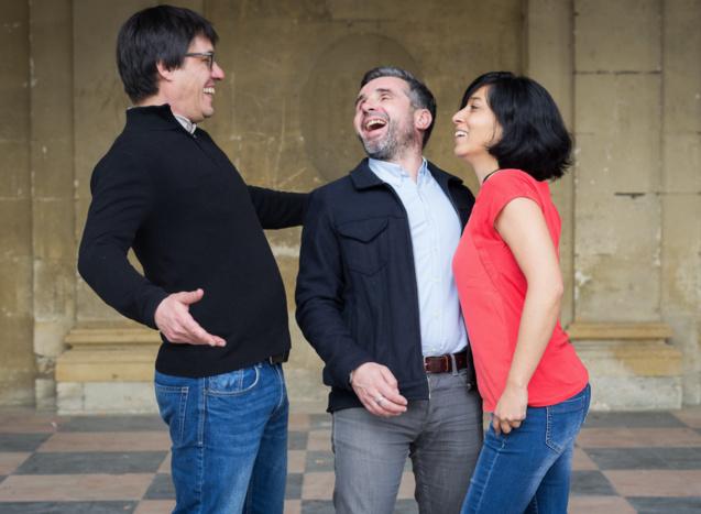 Le trio de jazz Akoda: Benjamin Peltier, Franck Leymerégie, et Valérie Chane Tef