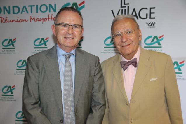 Frédéric Brette, directeur générale du Crédit Agricole de La Réunion, et Michel Maffesoli