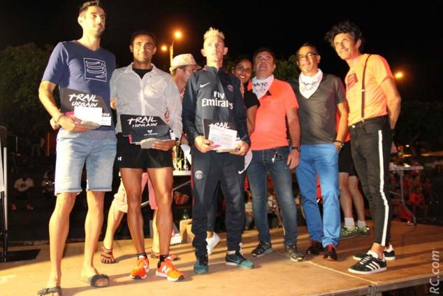 Le podium des masculins dans l'ordre : Mickaël Chamand, Romain Anglade et Didier Hiarau