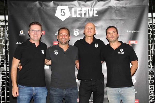 Tony JALINIER, Guillaume DEBELMAS, et Joseph VIEVILLE les fondateurs du Groupe Le Five, et Olivier MEDEVILLE directeur des opérations du Groupe Le Five