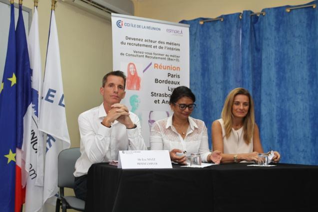 Eric Matz, délégué régional PrismEmploi, Nadine Angelie et Patricia Perarnaud, respectivement présidente et vice-présidente de la Commission Formation de la CCI de La Réunion