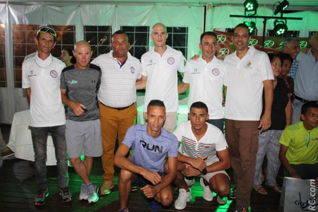 Patrick Vidot, président de l'ACSGS, et ses athlètes, et aussi Willy Hastourny de Sportpro