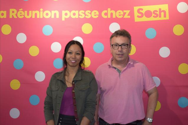 Genevière Hoareau-Hocho, porte-parole Sosh Réunion, et Jean-Marc Escalettes, directeur Orange Réunion Mayotte