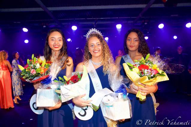 Shanaël Maillot, 2ème dauphine Miss Salazie 2019, Sythiana Nourry, Miss Salazie 2019, et Eléna Manoro, 1ère dauphine Miss Salazie 2019