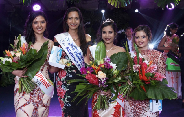 Gwendoline Fontaine, 2ème dauphine, Morgane Soucramanien, Miss Réunion 2018, Frideline Mouniama, Miss Vacoa 2019, et Flora Olivar, 1ère dauphine
