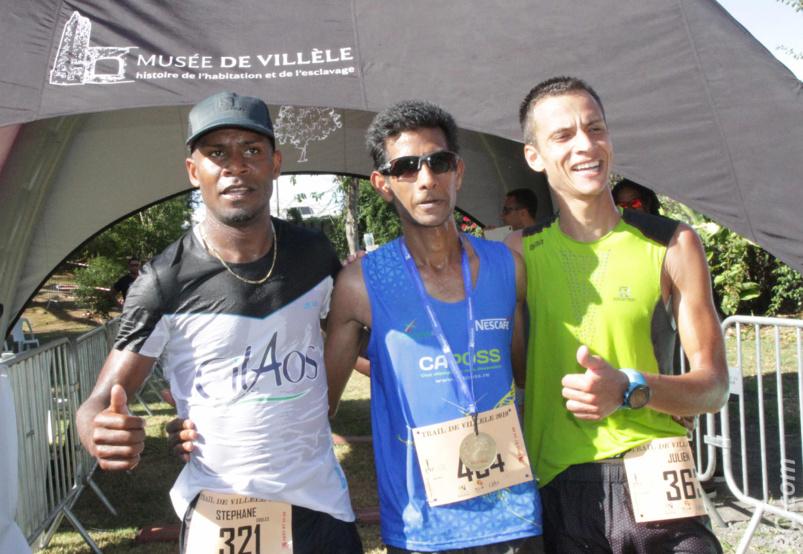 Le trio gagnant: Eddy Narayanin, Stéphane Odules et Julien Hoareau