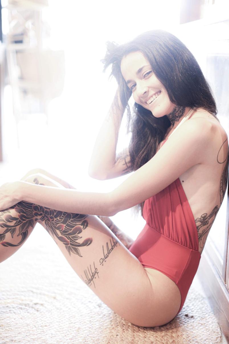Tiphaine Boyer, tatouée, désignée Ink Girl Réunion 2019