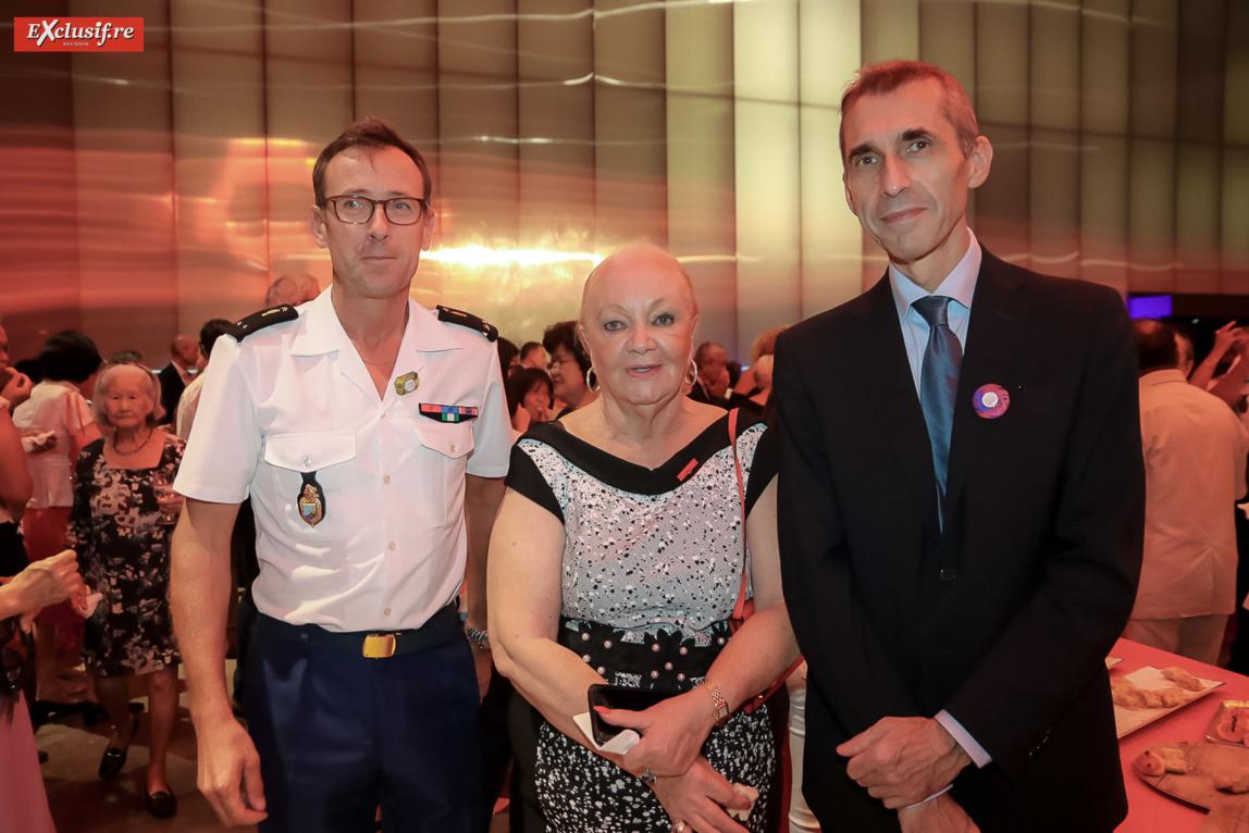 Général Xavier Ducept, commandant de la Gendarmerie à La Réunion, Aude Palant-Vergoz, et Eric Tuffery, procureur de la République de Saint-Denis,