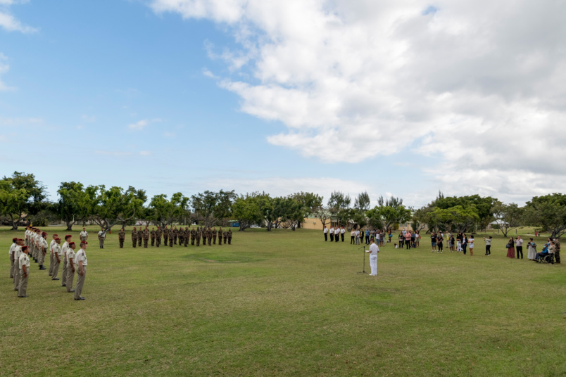 La cérémonie a eu lieu à la caserne CBA Dupuis de Pierrefonds, sous le commandement du colonel Geoffroy Rondet