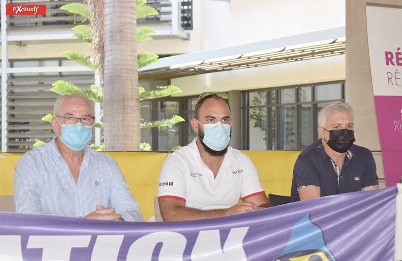 Philippe Lherminez, directeur général de NTR, Vincent Payet, directeur d'Europcar, et André Sauvet, chargé du Rallye de la régularité sportive