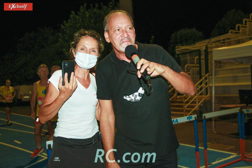 La présidente Nathalie Bourcier et l'animateur de la soirée Michel Bénard