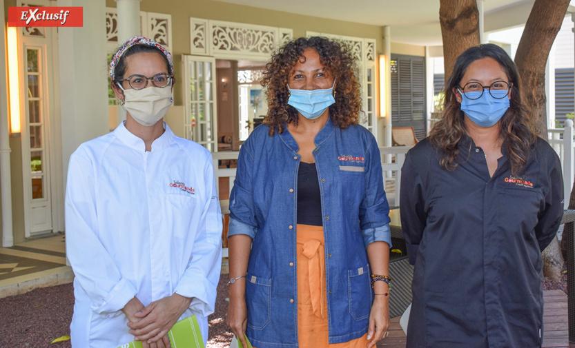 Les 3 lauréates 2020: Valérie Lucas du Cassava & Co, Katiuscia Payet de la Bananeraie de Bourbon, et Christelle Nandjan de la Pâtisserie Pépite et Cerise