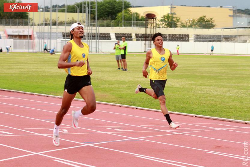Cédric Lacouture (en jaune) champion de Ma Réunion sur le 200m