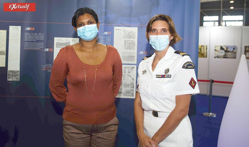 Yasmine Moutien, présidente du CNJOI (Canal Numérique Jeunesse Océan Indien) et le Capitaine Estelle, officier communication du RSMA-R