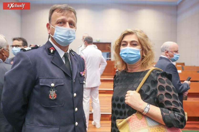 Colonel Frédéric Leguillier, directeur du SDIS de La Réunion, et Nathalie Poirier-Authebon,  directrice départementale de la Police aux Frontières de La Réunion