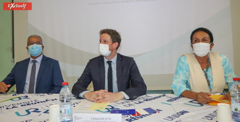 Cyrille Melchior, président du Département, Clément Beaune, et Huguette Bello, présidente de la Région