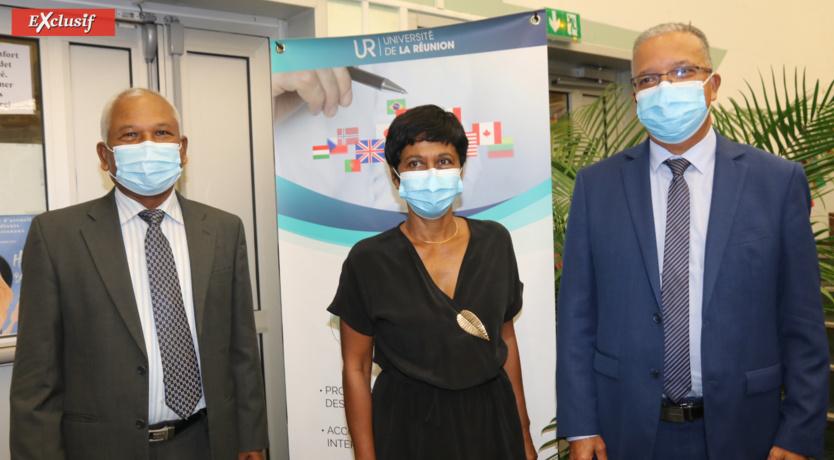 Jitendra Nath Mahji, Consul général de l'Inde, Ericka Bareigts, maire de Saint-Denis, et Cyrille Melchior, président du Département