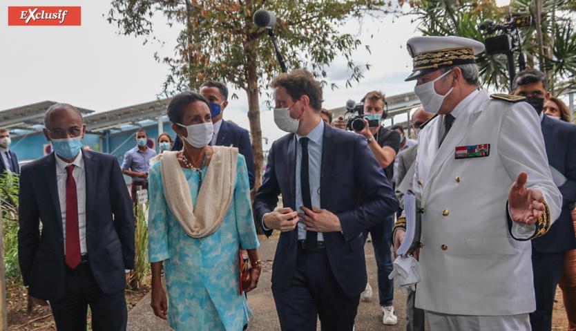 Philippe Naillet, député, Huguette Bello, présidente de la Région, Clément Beaune, Secrétaire d'Etat aux Affaires européennes, et Jacques Billant, Préfet de La Réunion