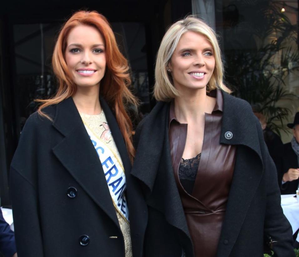 Sylvie Tellier avec Miss France en décembre dernier. Rien ne laissait deviner sa grossesse...