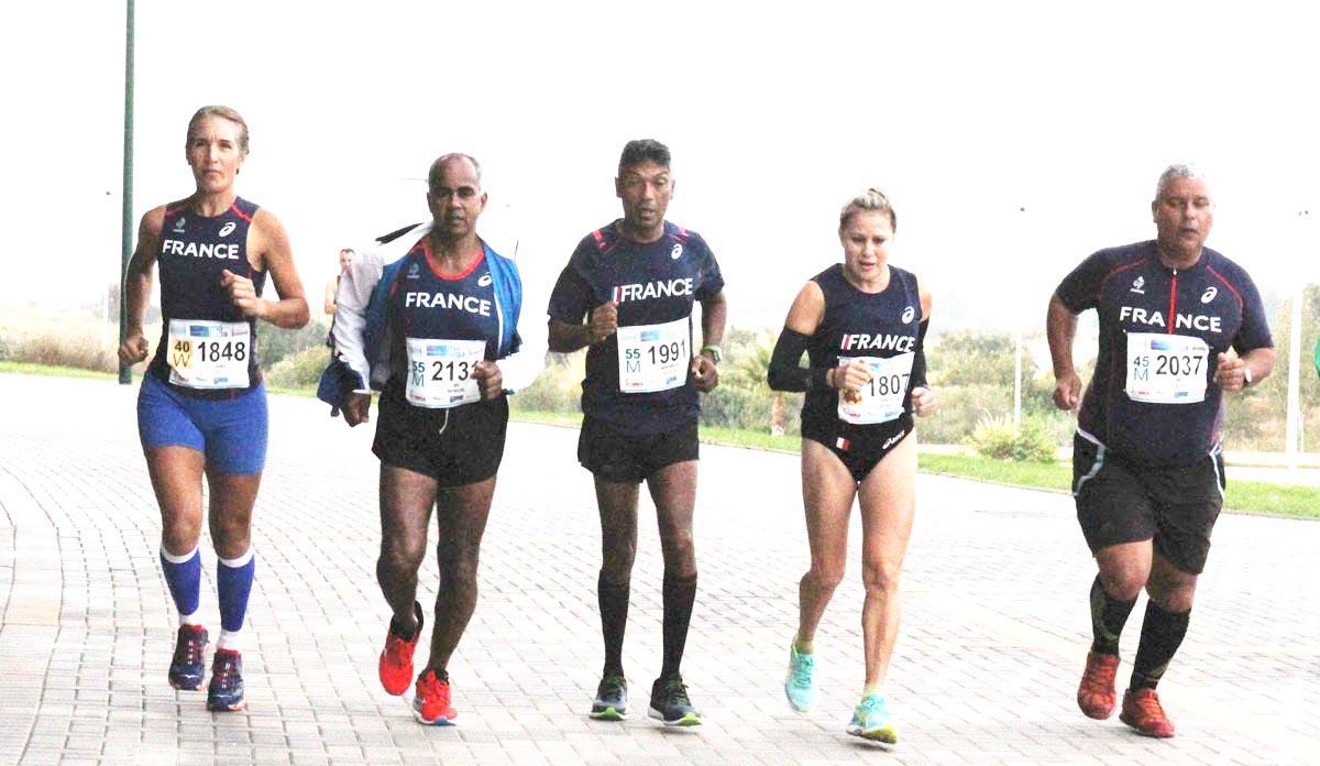 Olivia Dijoux, Jean-Pierre Vee, Jean-Pierre Mardmoutou, Marlène Chane See Chu et Frédéric Payet sous les couleurs de la France à Malaga