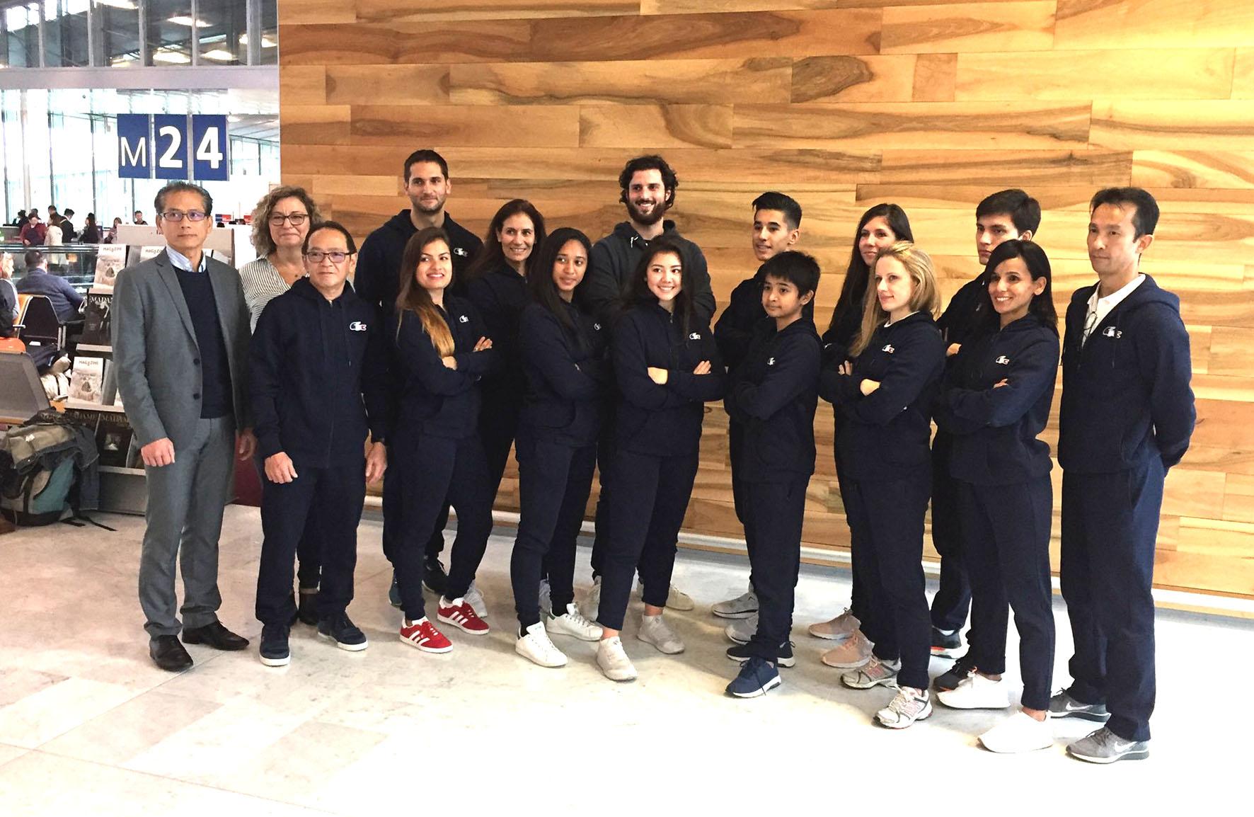 L'équipe de France technique de Taekwondo avant le départ pour Taipei