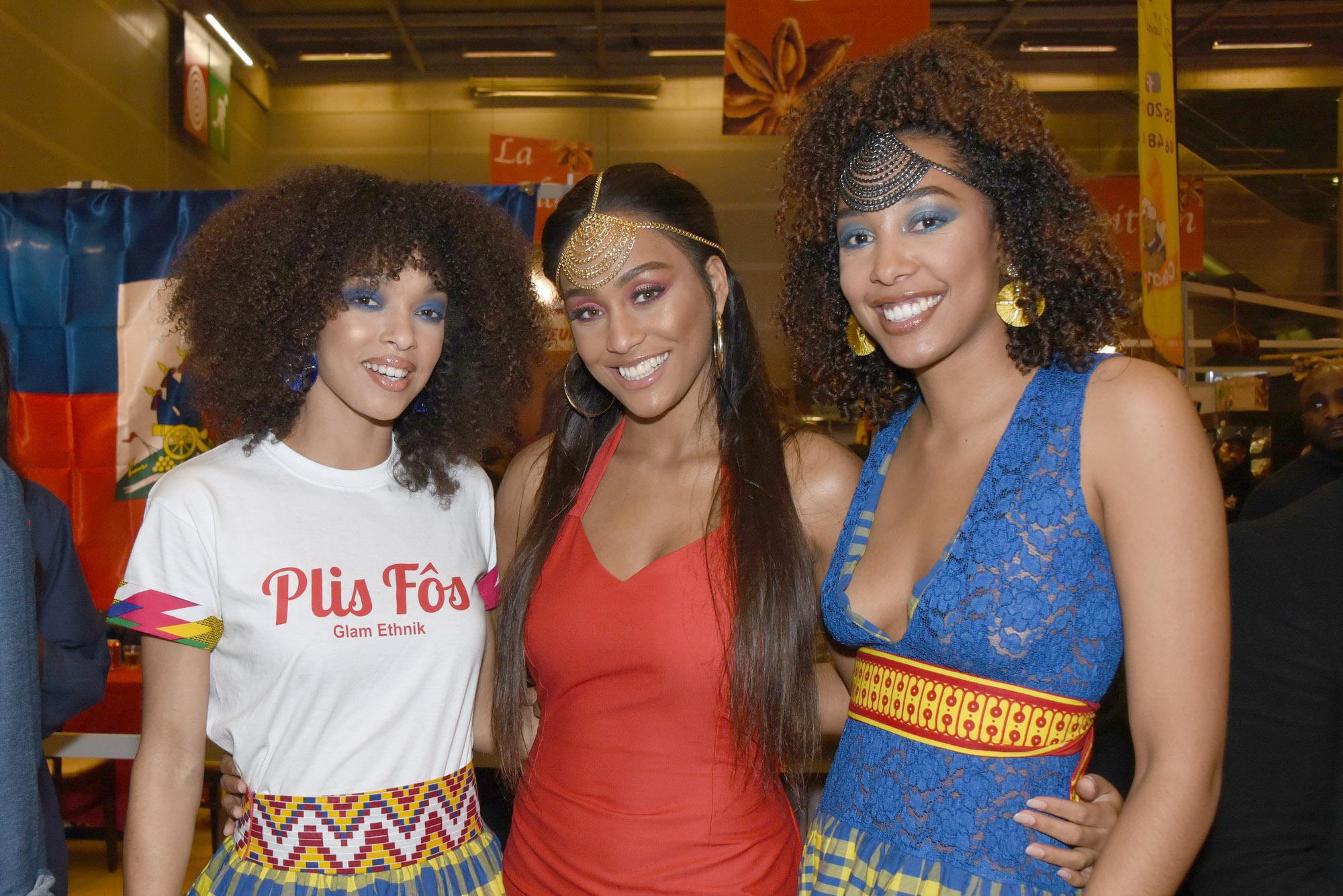 Défilé Glam Ethnik (Ayden). Ophély Mézino (1ère Dauphine Miss France 2019), Morgane Thérésine (3ème Dauphine Miss France 2017) et Chloé Mozar (Miss Guadeloupe 2014).