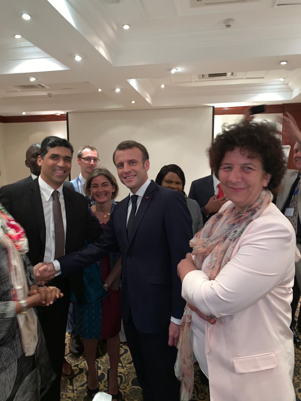 En compagnie du président Emmanuel Macron, et e Frédérique Vidal, Ministre de l'Enseignement supérieur, de la Recherche et de l'Innovation