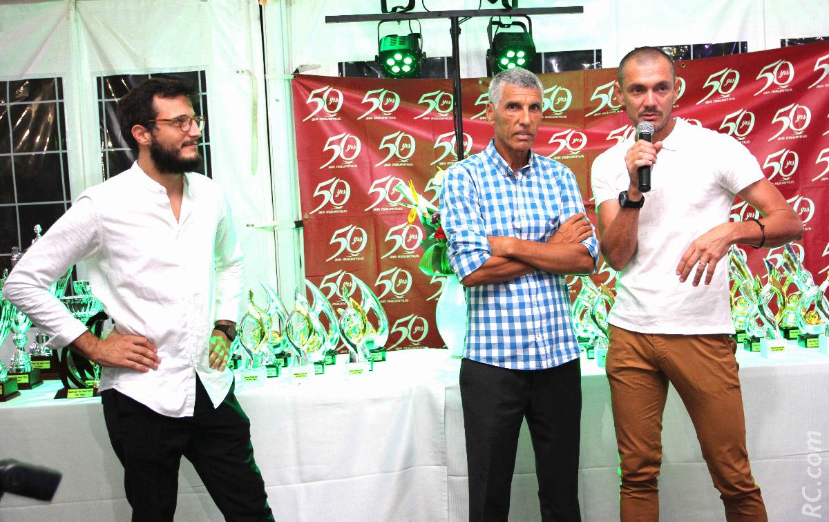 Guy Dreulle et Bertrand Vienne avec Jean-Louis Prianon qui avait participé au lancement du Team City-Sport