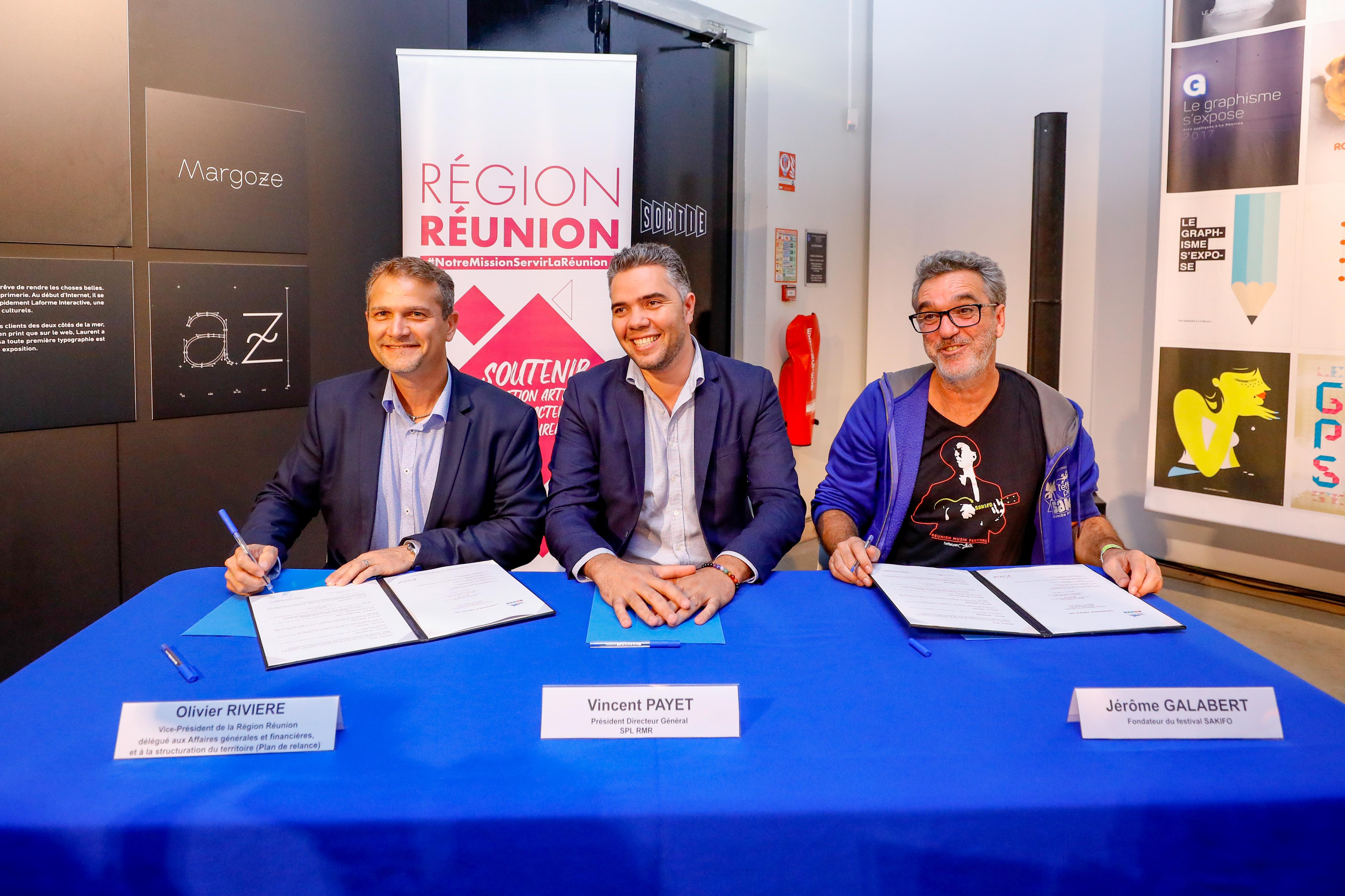 Olivier Rivière, Vincent Payet, président de la SPL RMR, et Jérôme Galabert