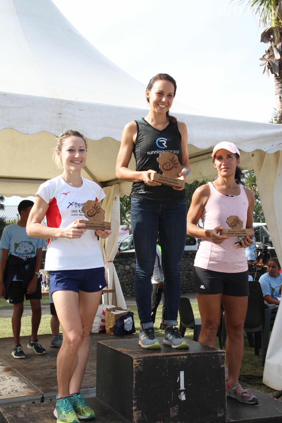Le podium féminin scratch: Emma Métro (1), Justine Lemaître (2) et Olivia Dijoux (3)
