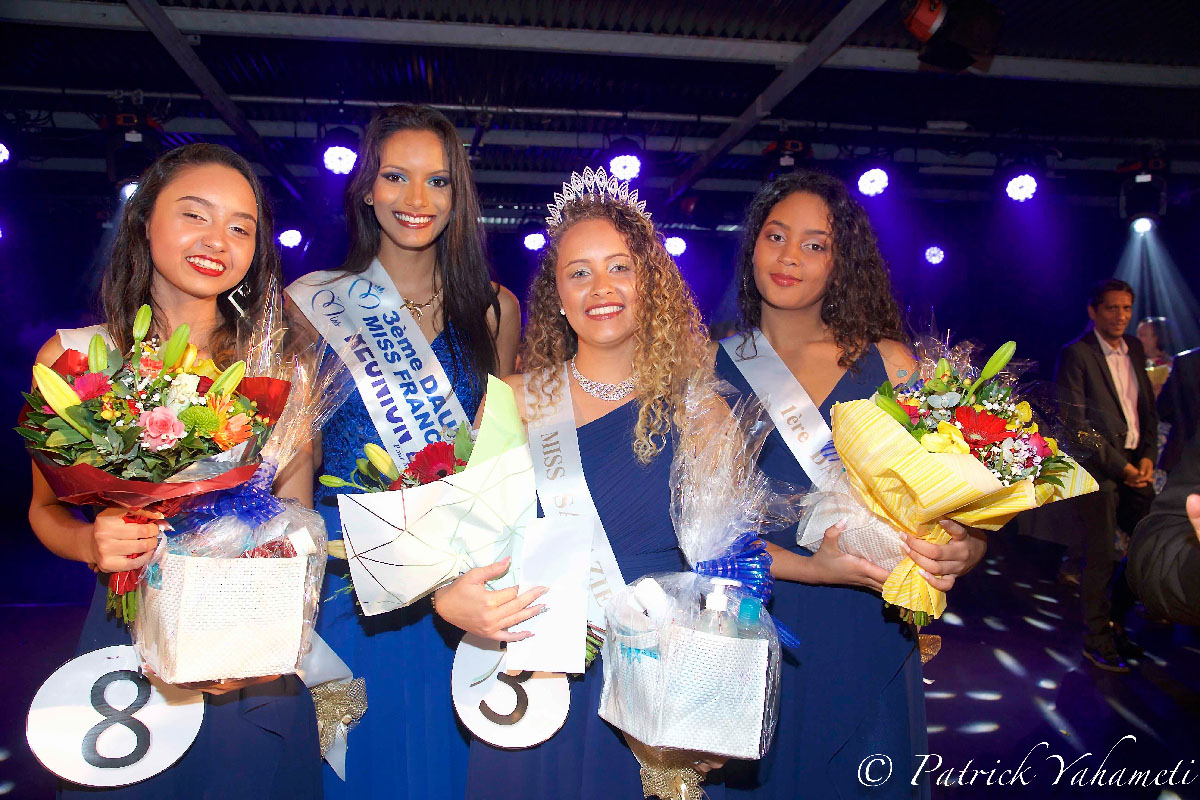Shanaël Maillot, 2ème dauphine Miss Salazie 2019, Morgane Soucramanien, Miss Réunion 2018, 3ème dauphine Miss France 2019, Sythiana Nourry, Miss Salazie 2019, et Eléna Manoro, sa 1ère dauphine