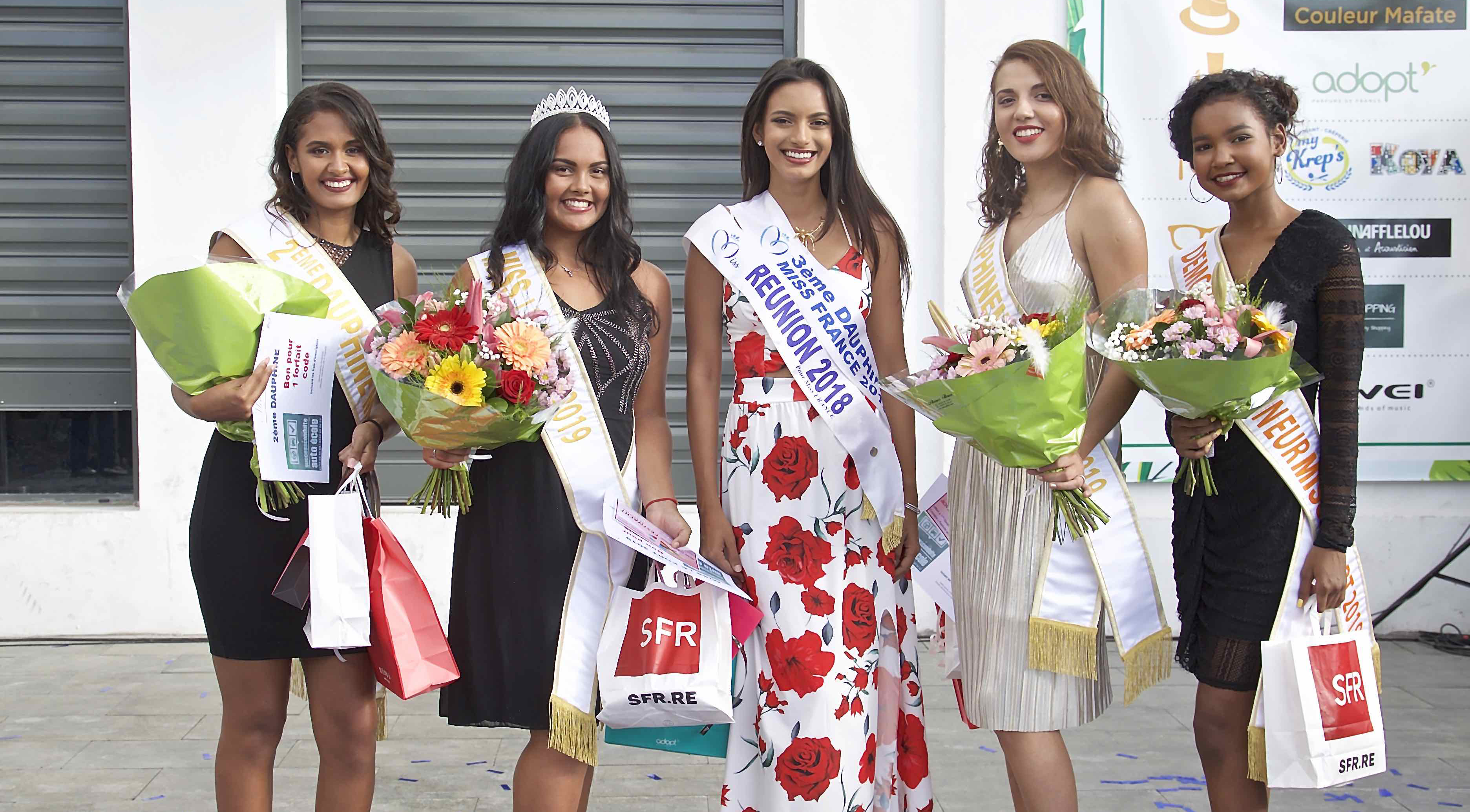 Marie Frontin, 2ème dauphine, Audrey Beaudet, Miss Le Port 2019, Morgane Soucramanien, Miss Réunion 2018, Julie Diemahave, 1ère dauphine, et Gwendoline Bordier, Demoiselle d'Honneur