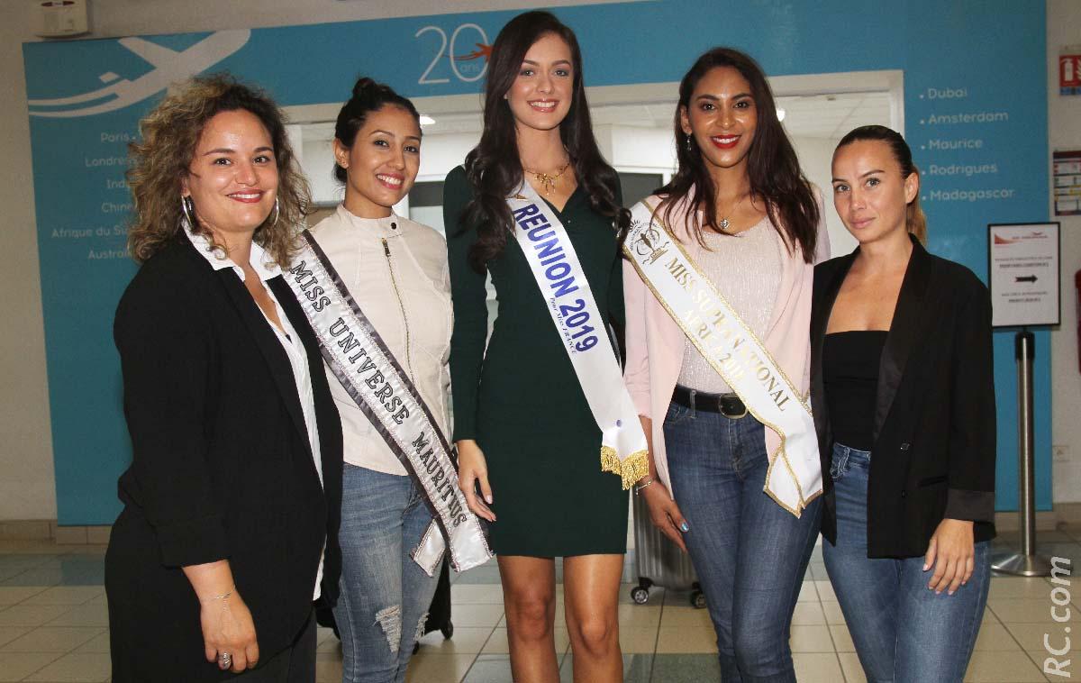 Sarah Léocadie de Destination Sud Réunion, Varsha Ragoorbasing, Morgane Lebon, Miss Réunion 2019, Anoushka Ah Keng, Miss Supranational Africa 2018/2019, et Maeween Mailly de Destination Sud Réunion