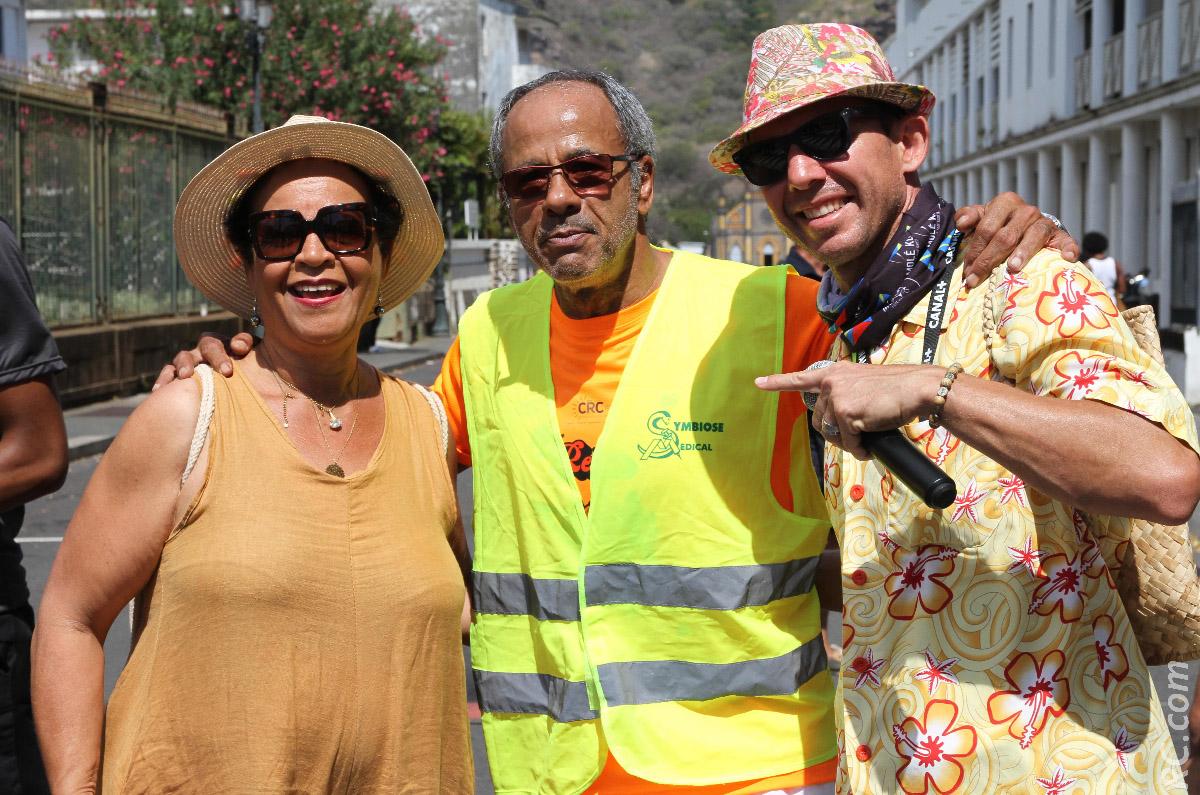Sonia Bardinot, Alain Couderc, l'animateur-vedette Jérôme Désiré qui, la veille, animait le Moka Trail à Maurice