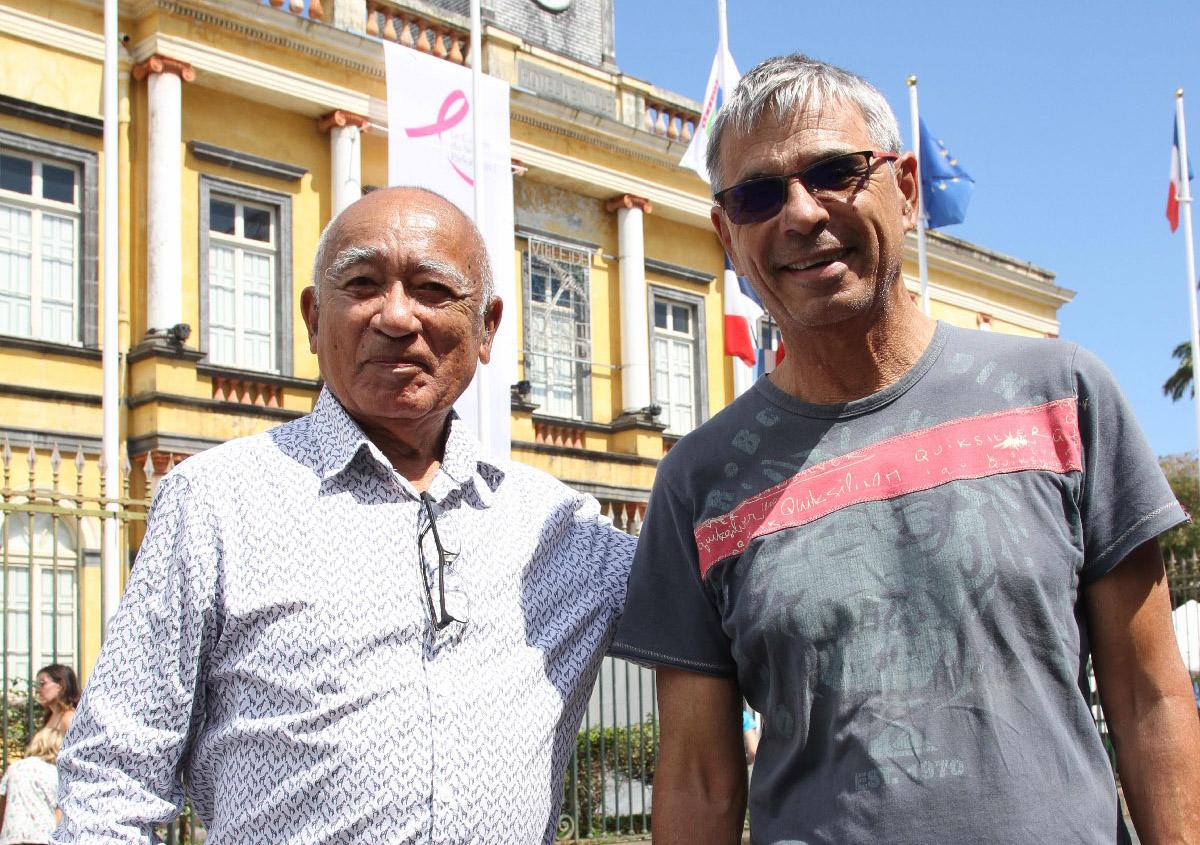 Raymond Nando, fondateur du Relais de Saint-Denis, et Yves Morel de Télé Kréol