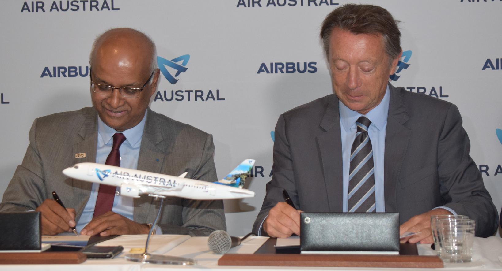 Signature d'une commande de près de 180 millions d'euros (prix catalogue, on ne connaît pas le tarif accordé à Air Austral)...