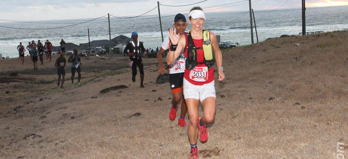 Toujours avec le sourire, Landie Greyling était sur l'épreuve reine du Trail de Rodrigues