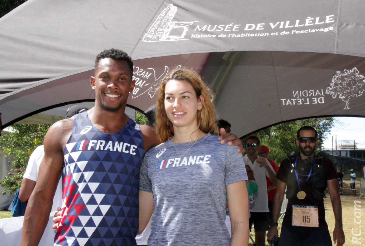 Ruben Gado et Esther Turpin, membres de l'équipe de France, parrain et marraine du Trail de Villèle