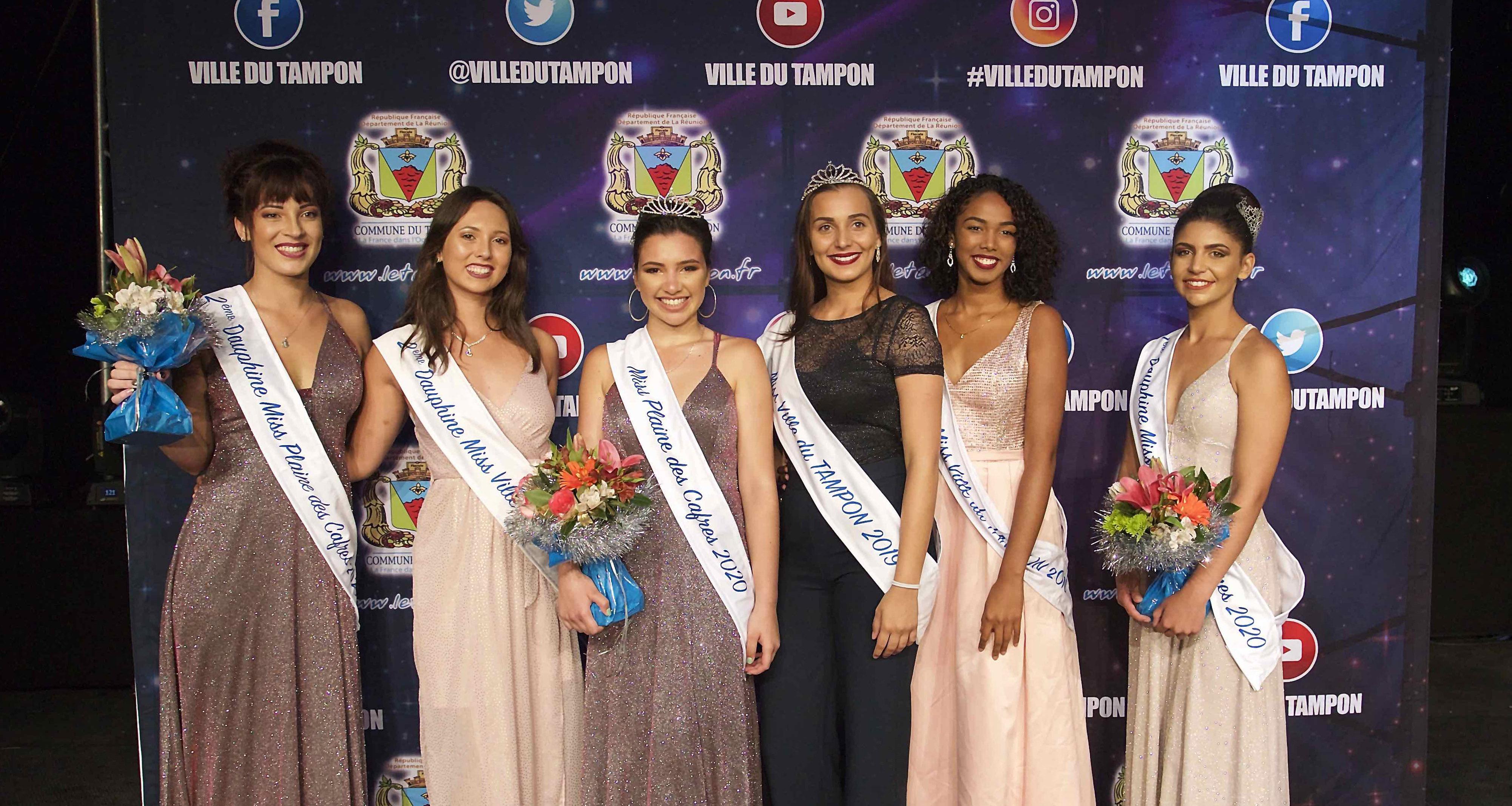 Miss Plaine des Cafres 2019 et Miss Ville du Tampon 2019 avec leurs dauphines