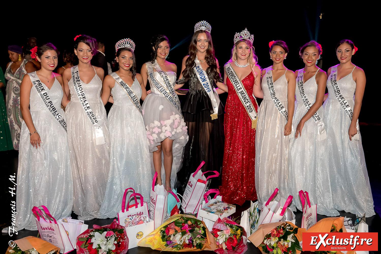 Les 6 lauréates Mademoiselle Ile de la Réunion 2020, avec Carla Eme, Mademoiselle France 2019, et Morgane Lebon, Miss Réunion 2019