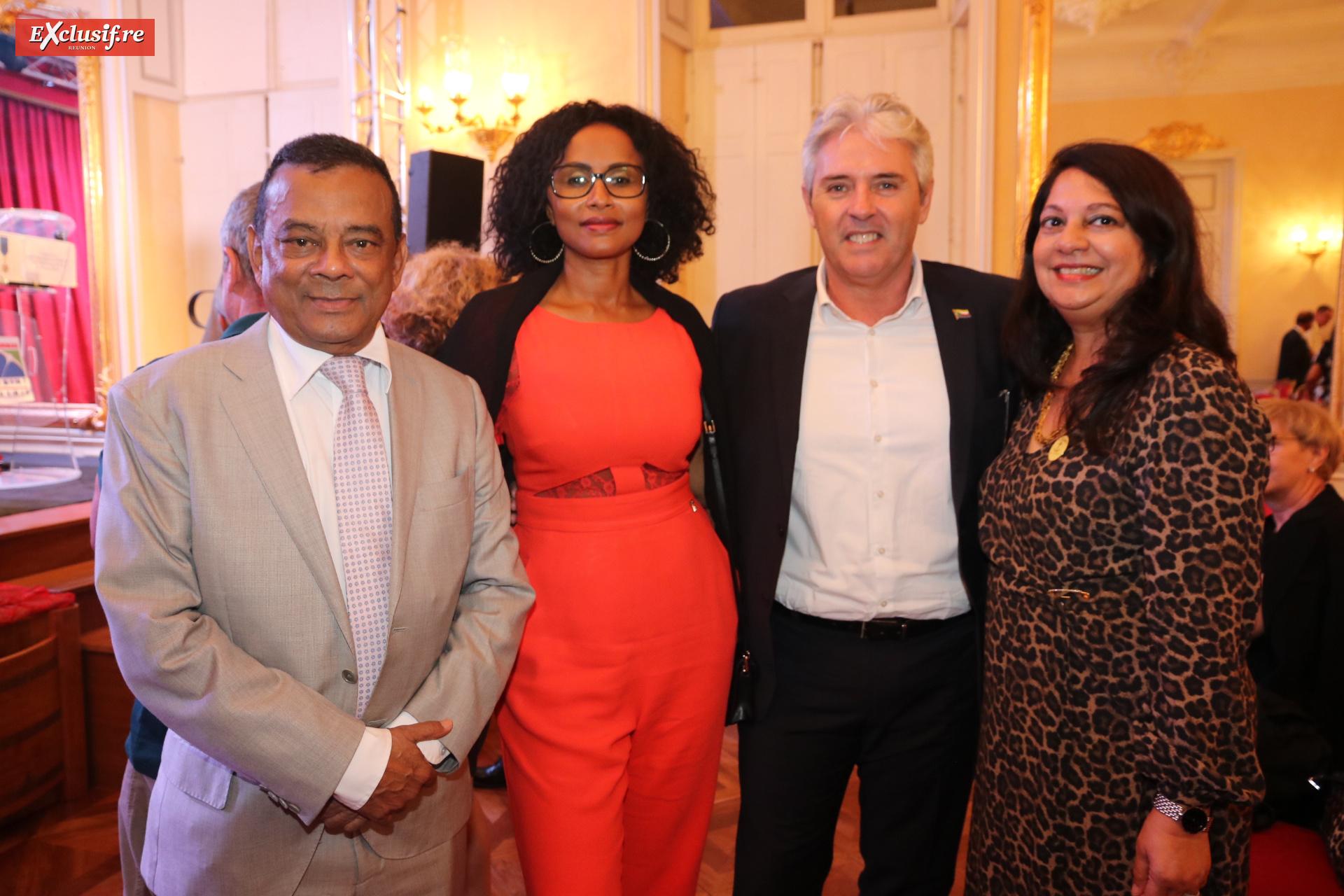 Ivan Collendavelloo, Premier Ministre adjoint de l'île Maurice, Faouzia Vitry, vice-présidente de la Région, Didier Broca, consul honoraire des Comores, et Raziah Locate