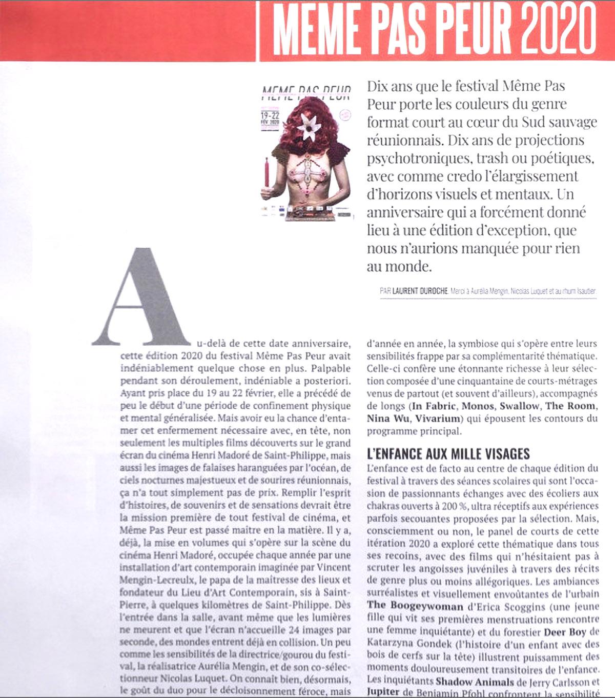 Une double page dans le magazine métropolitain spécialisé MAD MOVIES