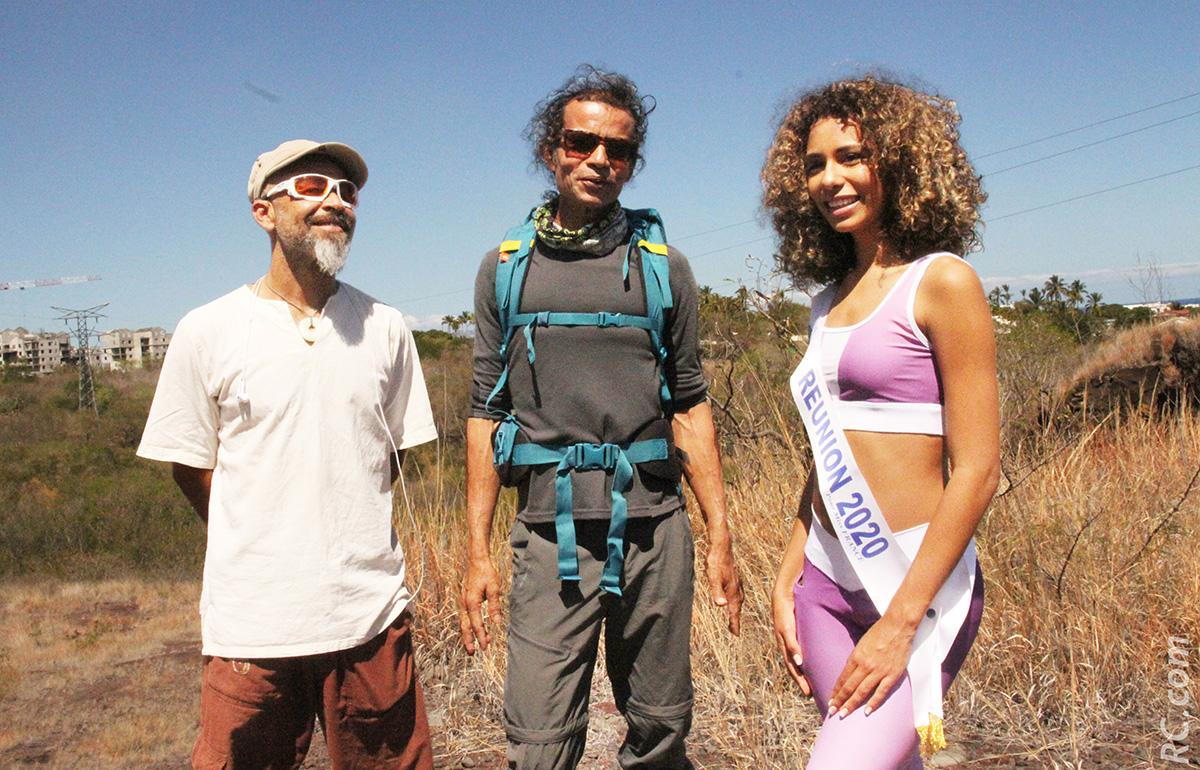 Christophe non-voyant, son guide Philippe Vaïtilingom et Miss Réunion 2020