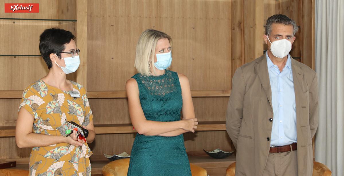 Sandrine Pécot, directrice de l'EHPAD Aude, Pauline Lévy, directrice du Pôle Séniors Mediaustral, et Pierre Chenard, président de Mediaustral