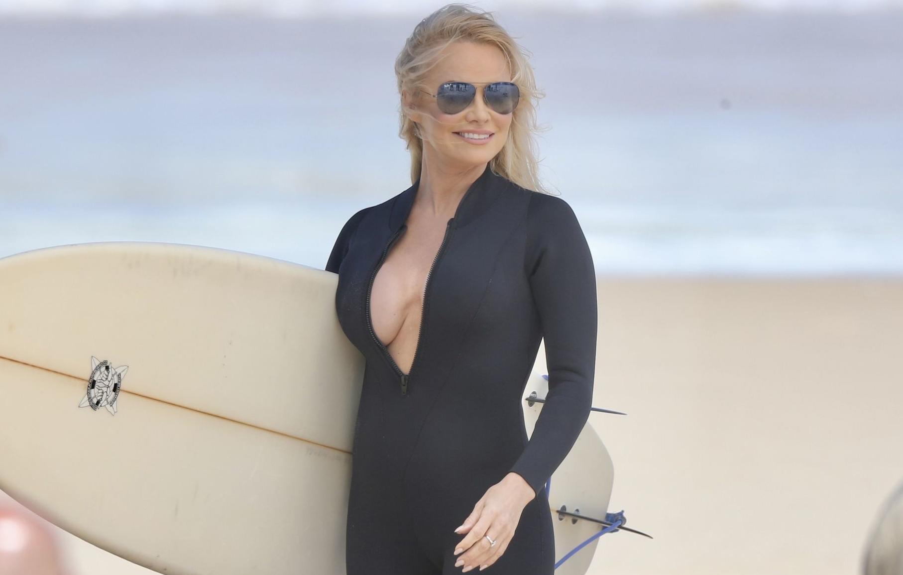 Pamela Anderson lors d'un shooting en 2019