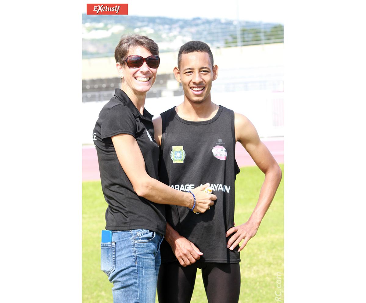 Anne Atia félicite son champion de fils, Benjamin, qui a remporté le 100m
