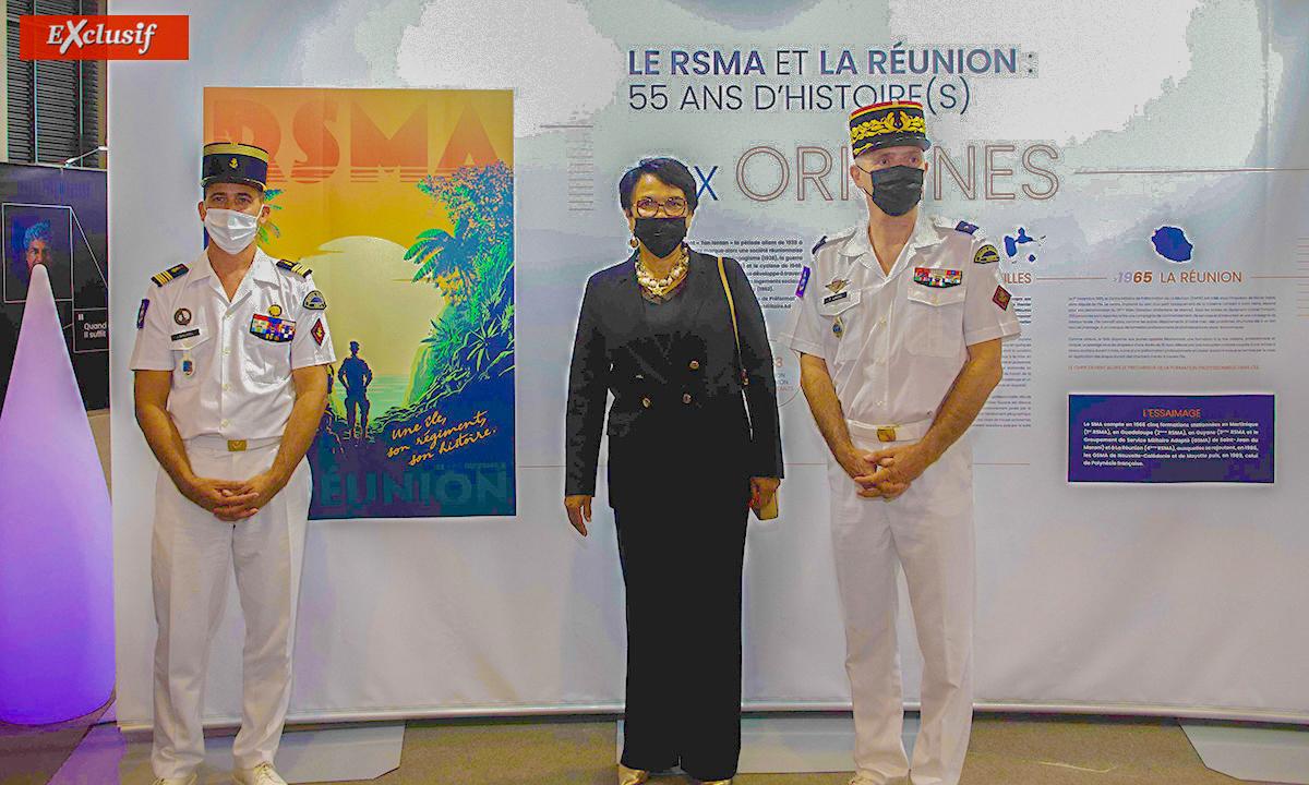 Colonel Julien Maurel, chef de corps du RSMA Réunion, Béatrice Sigismeau, vice-présidente du Département, et général Thierry Laval, commandant du SMA