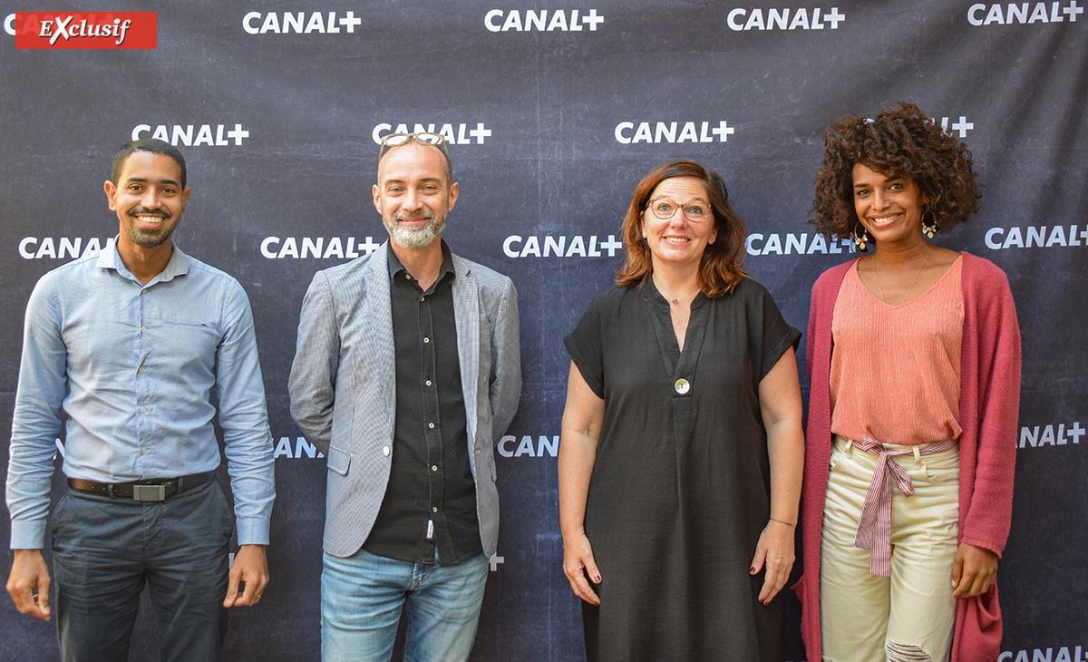 Kevin Cerveaux (Région Réunion), Stéphane Négrin (DAC Réunion), Samantha Nahama (Canal+ Réunion), et Louiz (artiste)