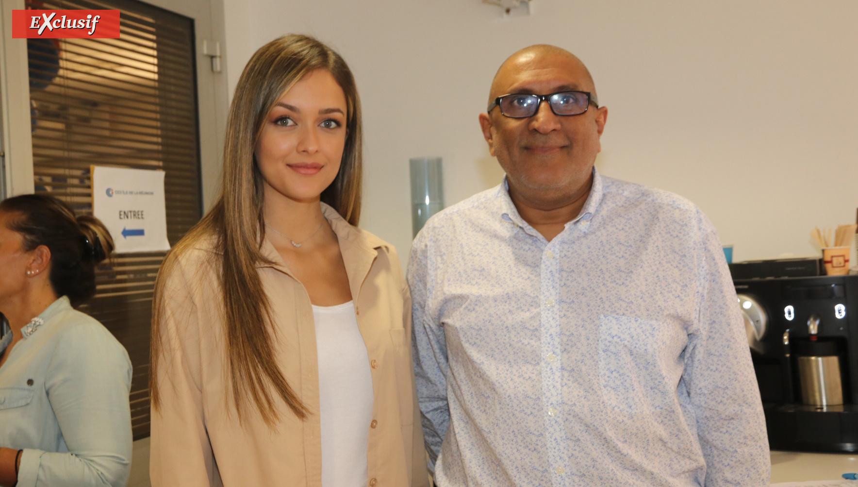 Morgane Lebon, qui présente une émission télé pour la CCIR, et Salim Motara, cadre à la CCIR